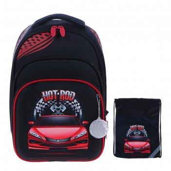 Рюкзак каркасный luris джерри 3 38x28x18 см + мешок для обуви, для мальчик