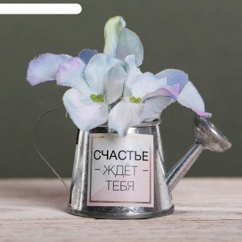 Металлическое кашпо для цветов «счастье ждет тебя», 6 х 5 см