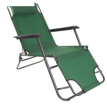 Кресло-шезлонг туристическое с подголовником 153х60х30 см, цвет: зеленый