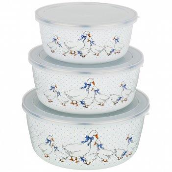 Набор мисок agness эмалированных с пластик.крышками, серия гуси 6пр. 0,7/1