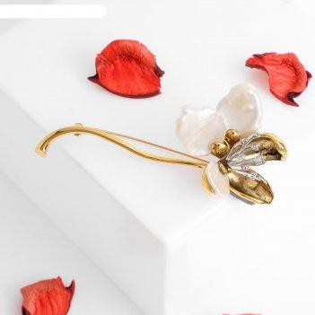 Брошь жемчуг цветок, цвет белый в чернёном золоте