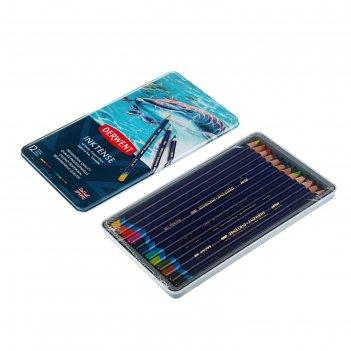 Карандаши художеств цветные акварельные derwent inktense 12цв метал.упак 0