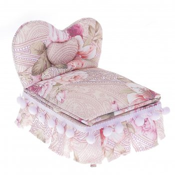 Шкатулка ткань для украшений кровать с помпонами 13,5х15х12 см