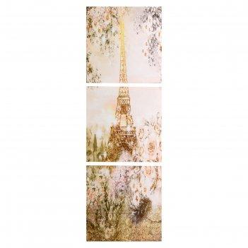 Модульная картина летний париж (3-35х35) 35х105 см