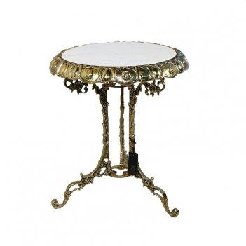 Столик малый с мраморной столешницей, золото