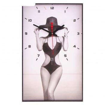Часы настенные, серия: люди, девушка в шляпе, 37х60 см