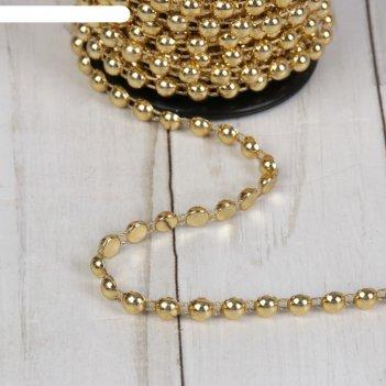 Стразы на нитях, плоские, 6 мм, 9±1 м, цвет золотой