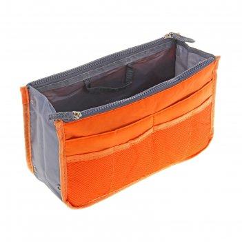 Косметичка дорожная 3 отдела, 10 карманов, на 2 молниях, цвет оранжевый
