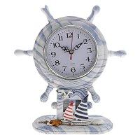Часы настольные, штурвал бело-синие разводы с корабликом и звездочками