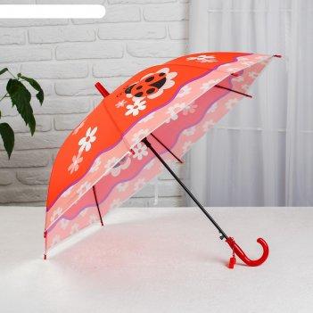 Зонт детский божья коровка, полуавтоматический, r=40см, цвет красный