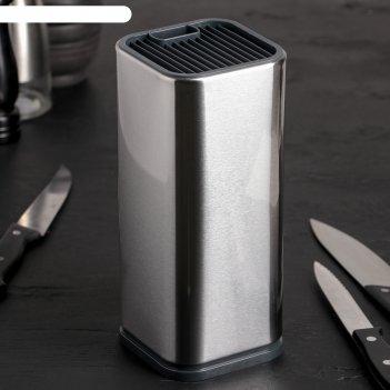 Подставка для ножей и ножниц 10x10x23 см металлик