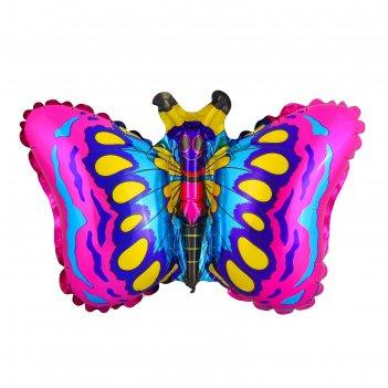 Шар фольгированный 12 бабочка для палочки, цвет малиновый