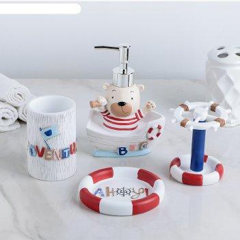 Набор для ванной приключения 4 предмета (мыльница, дозатор для мыла, 2 ста