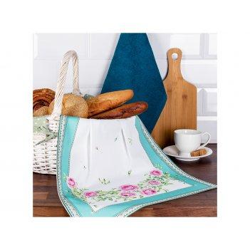 Набор полотенец кухонных 2шт,гарден 40*70см,40*40см, бирюза+изумруд махра