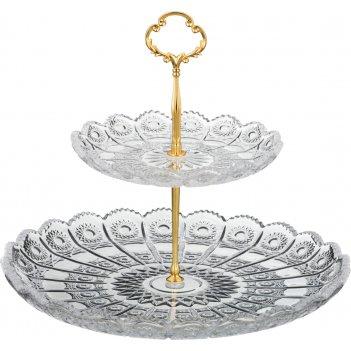 Фруктовница двухъярусная muza crystal диаметр=18/30 см (кор=6шт.)