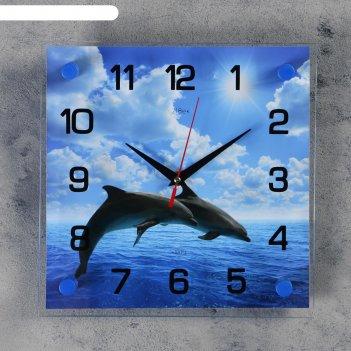 Часы настенные, серия: море, дельфины в открытом море, 25х25  см, микс