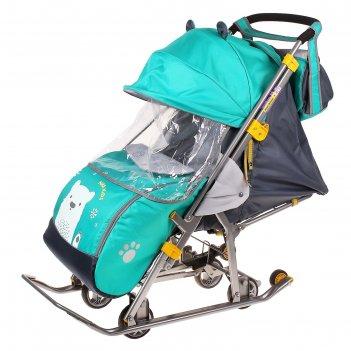 Санки коляска «ника детям 7. мишка», цвет изумрудный