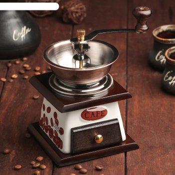 Кофемолка с ручкой 12х11,5х16 см кофейные зерна, темное дерево