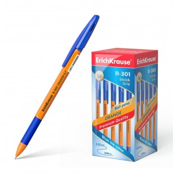 Ручка шариковая erich krause r-301 orange stick   grip, узел 0.7 мм, черни
