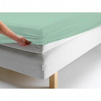 Простыня на резинке, размер 160х200х20 см, цвет ментоловый, трикотаж 125 г