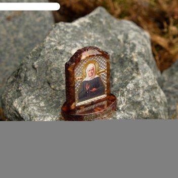 Икона из латуни и янтаря матрона московская