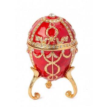 Шкатулка яйцо фаберже s-3293 красный