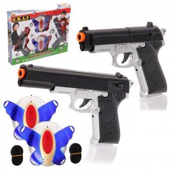 Лазертаг «перестрелка»: 2 датчика, 2 пистолета, работает от батареек