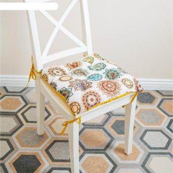Подушка на стул, размер 45 x 45 см, принт восточная сказка