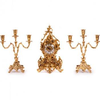 Часы каминные виола с канделябрами на 3 свечи, набор из 3 предм.