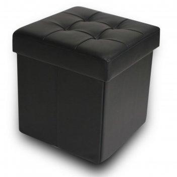 Пуфик складной, цвет чёрный, экокожа