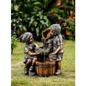 Декоративный фонтан  дети у кадки