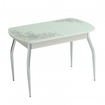 Стол раздвижной 1100/1500х700х770 стекло ф/п орнамент/белый/изогнутое подс