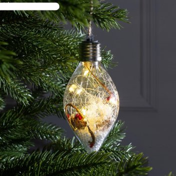 Елочный шар капля снежные нити, 5 led, от батареек, т/белый