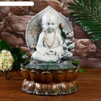 Фонтан настольный от сети, подсветка маленький будда - послушник серый 40х