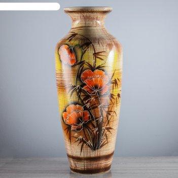Ваза напольная виктория красные цветы, 68 см, микс