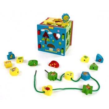 Кубик радужный (конструктор, сортер, шнуровка)