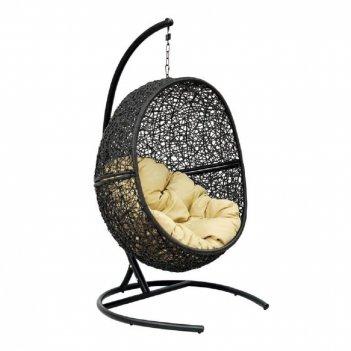 Подвесное кресло lunar black ми (175), каркас черный, подушка светло-бежев