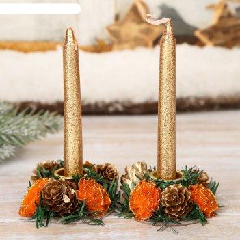 Подсвечники со свечами шишки с розочками (набор 2 шт.)