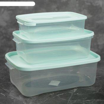 Набор пищевых контейнеров каскад, 3 шт: 700 мл; 1,2 л; 2,2 л, цвет микс