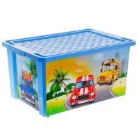 Ящик для игрушек city cars на колесах, большой 57 л, с крышкой, цвет голуб