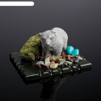 Сувенир медведь стоящий, змеевик, мрамор