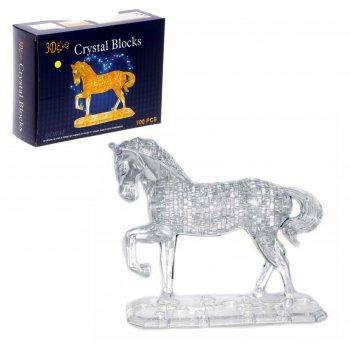 Пазл 3d лошадь на подставке, 100 деталей, цвета микс