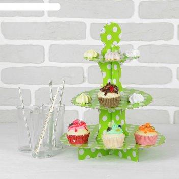 Подставка для пирожных трёхъярусная ласка, зелёный цвет