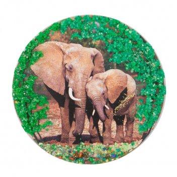 Магнит с рисунком слоны змеевик 110х110 мм 95 гр.