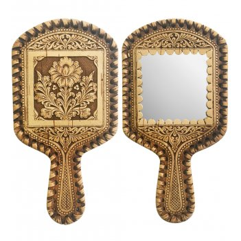 Bst-329/ 2 зеркало с ручкой цветок (береста)