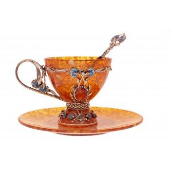 Чайная чашка васильки из янтаря