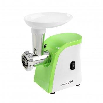 Мясорубка luazon lmg-1804, 600 вт, 2 решётки, реверс, шинковка, бело-зелён