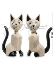 В1-0418 статуэтка кошка бежевая, набор 2 шт.