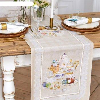 Дорожка на стол пасхальные куличи 40*146 см, 100% хл, саржа 190 гр/м2