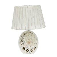 Лампа настольная керамика стразы жемчужные цветы белая 39х28х19 см